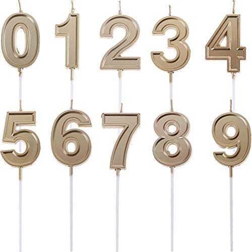 LOCOLO 10-Pieces Numeral Birthday Candles - Cake Numeral Candles Number 0-9 Glitter Cake Topper Decoration for Birthday,Wedding Anniversary,Party Celebration