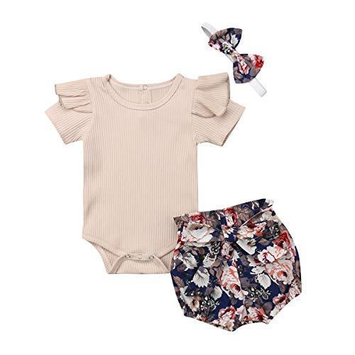 Conjunto de verano para bebé de 3 piezas de mono de manga corta con volantes + pantalones Bloomers estampado floral corto + banda con lazo 0-18 meses beige 6-12 Meses