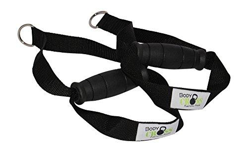 BodyCROSS Premium Griffe mit Fußschlaufe | hochwertige Studioqualität | Schadstoffgeprüft für alle Sling-Trainer und Fitnessbänder geeignet | Made in Germany (1 Paar)