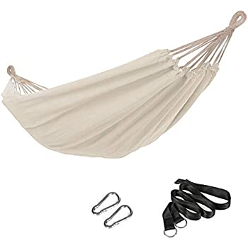 SONGMICS Double Hammock, 98.4 x 59.1 Inches, 660 lb Load Capacity, with Compression Bag, Mounting Straps, Carabiners, for Terrace, Balcony, Garden, Outdoor, Camping, Beige UGDC15M
