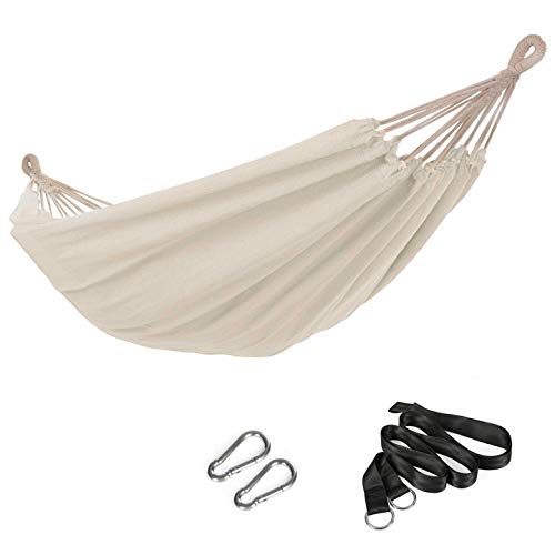SONGMICS 210 x 150 cm Cotton Hammock Portable for Outdoor Camping Garden Sleeping Load 300 kg GDC15M