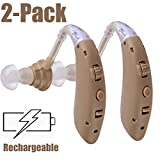 Hearing Amplifier Aid Rechargeable Digital Personal Sound Amplifier Devices PSAP for Seniors,Behind The Ear,BTE,TV,2-Pack (Fleshcolor)