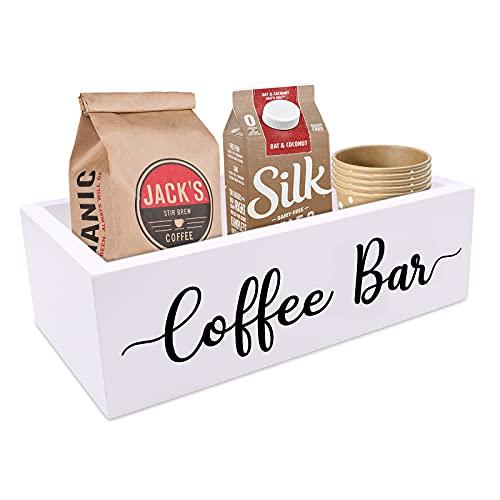Coffee Bar Box Coffee Station Wooden Holder Farmhouse Kitchen Decor Rustic Coffee Bar Wood Organizer Storage Gift for Coffee Lover
