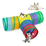 EGETOTA Cat Tunnel, 3 Way T Shape Collapsible Tube with Interactive Ball, Pet Toys for Small Pets, Cat, Puppy, Kitty, Kitten, Rabbit (Rainbow)