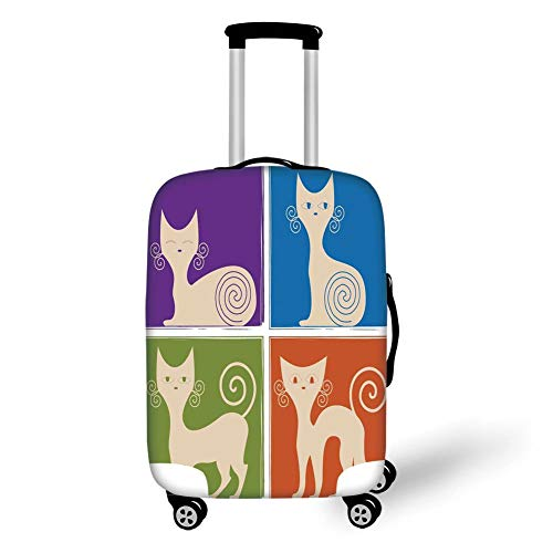 Travel Luggage Cover Suitcase Protector,Funny,Cartoon Cats Whiskers Emotion Happy Confused Curious Goofy Kitty Print,Purple Blue Green Orange,for TravelXL 29.9x39.7Inch