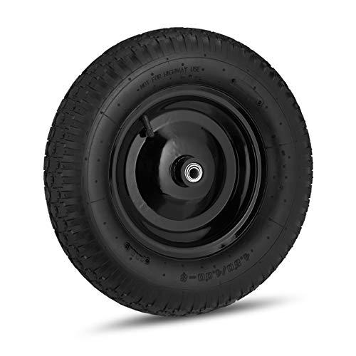 1 x Schubkarrenrad 4.80 4.00-8, luftbereift, Stahlfelge, 3 Adapter, Ersatzrad Schubkarre, bis 120 kg, schwarz