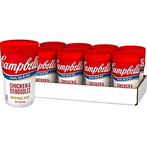 Campbell's Sipping Soup, Chicken & Mini Round Noodles, 10.75 Ounce Cup (Pack of 8)