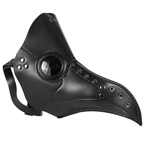 Coolty Máscara de médico de la plaga, pico de pájaro negro, disfraz de gas steampunk, máscara de Halloween para Halloween, cosplay, fiesta de disfraces