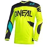 O'Neal | Camiseta de Motocross | Enduro MX Protección Acolchada para el Codo, Apto para el máximo Rango de Movimiento | Jersey Element Racewear | Adultos | Negro Neón Amarillo | Talla XL