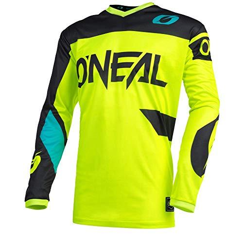 O\'NEAL | Motocross-Trikot | Enduro MX | Atmungsaktiv, Gepolsterter Ellbogenschutz, Passform für maximale Bewegungsfreiheit | Jersey Element Racewear | Erwachsene | Schwarz Neon-Gelb | Größe L