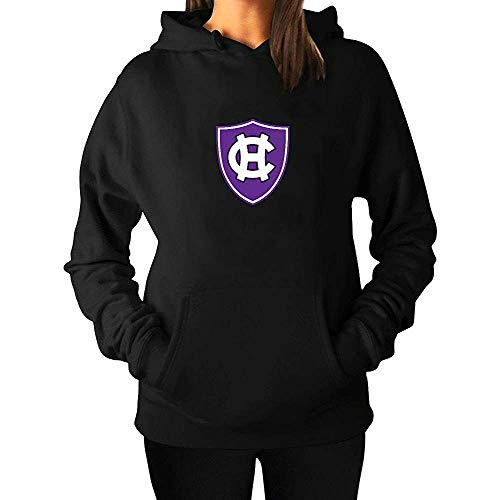 kongkong Plain Women's Holy Cross Crusaders Logo Drawstring Outwear Hoody Black 3XL