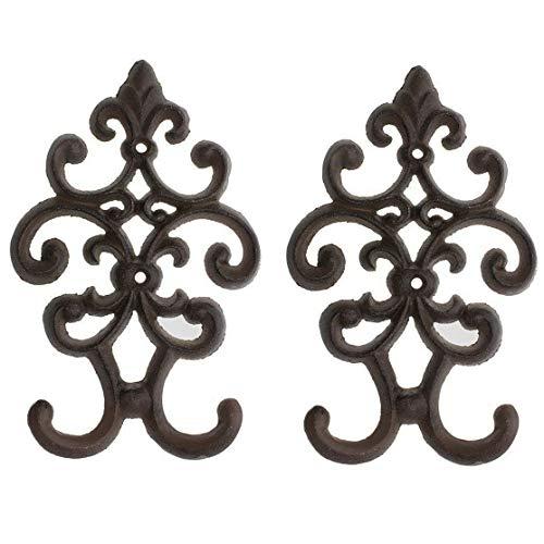 Comfify Gusseisener Vintage Doppelwandhaken - Dekorativer Kleiderhaken zur Wandmontage - Braun - 19.68 x 12.19cm - mit Schrauben und Dübeln