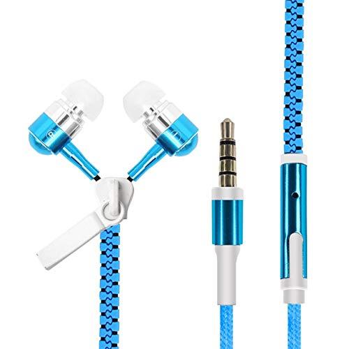Auriculares con Cable, Resplandeciente Cremallera Deporte Música Auriculares con Cable,...