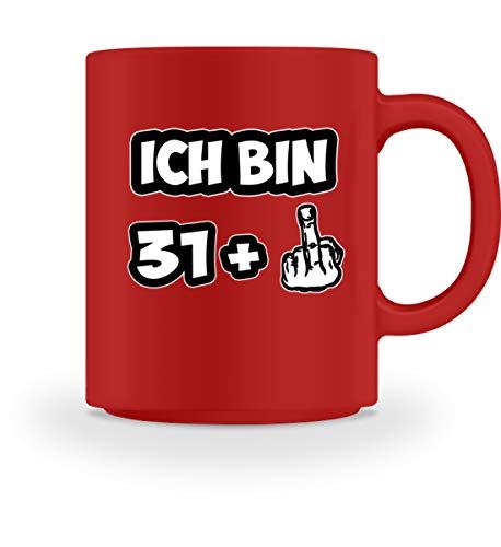 PlimPlom Ich bin 31 + Kaffeetasse 32. Geburtstag Spruch Tasse Für Kaffee Tee Kakao - Geschenk Idee - Tasse -M-Rot