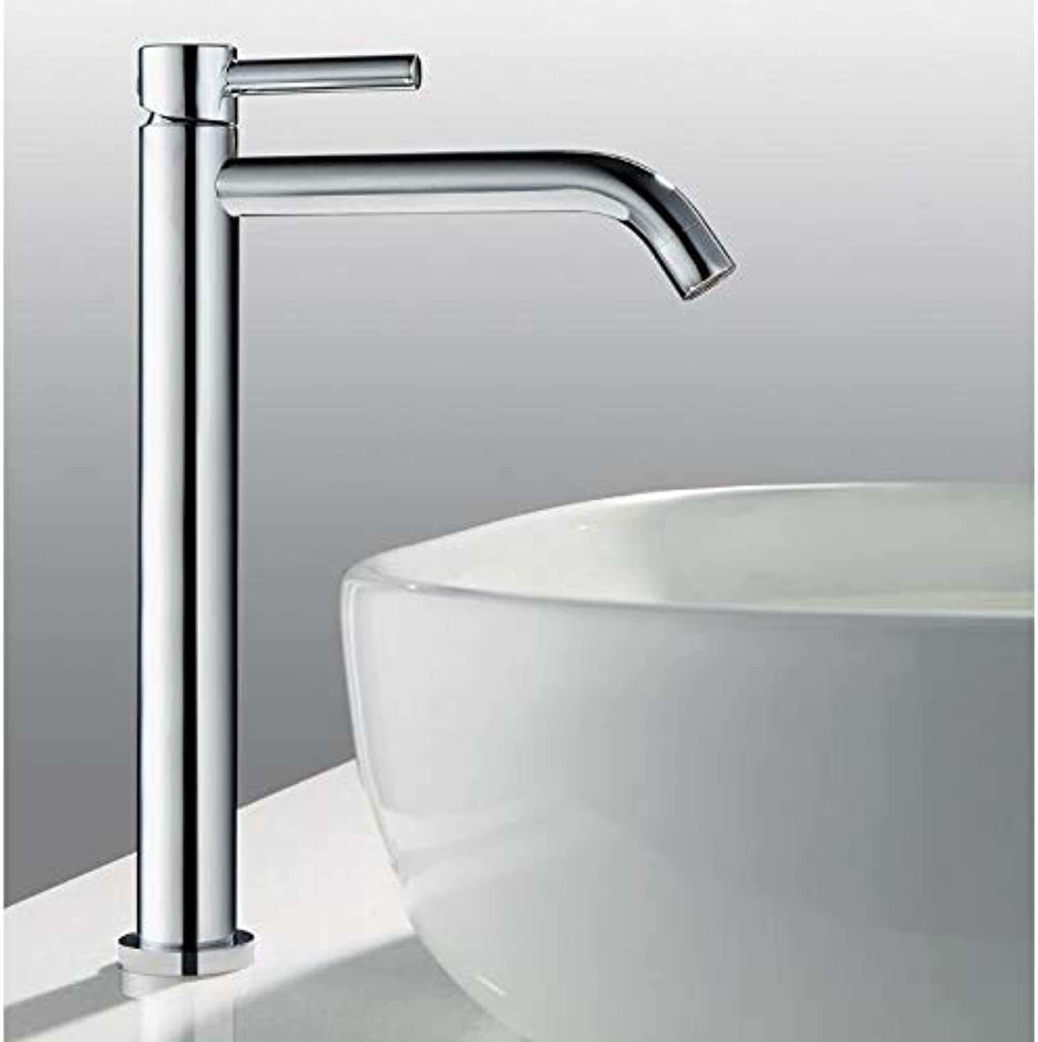 YUELIFE Bathroom Sink Tap Single Level Hot and Cold Chrome Finished
