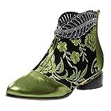 YWLINK Botas De TacóN Bajas De La Moda De ImitacióN Femenina Bordada De Cuero Femenino Botas Retro De Talla Grande Botas De Mujer Baratas Botas Bordadas Estilo éTnico Bota De Cuero (Verde, 39)