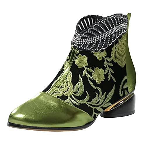 Xiand Stiefeletten Damen Mode Lauschig Biker Boots mit Blockabsatz Comfort Riemchen Frauen Ankle Boots Bootie Herbst Winter Stiefel Stiefelette Knöchel Schuhe Worker Boots Schneestiefel Damen