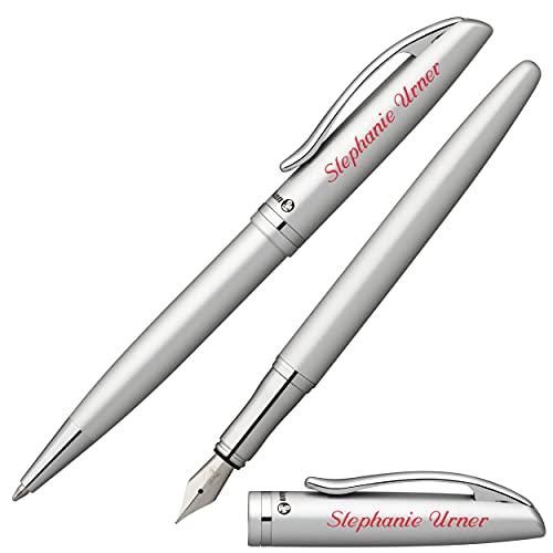 Pelikan Schreibset JAZZ ELEGANCE Silber Metallic mit Namen farbig personalisiert Füllfederhalter und Kugelschreiber