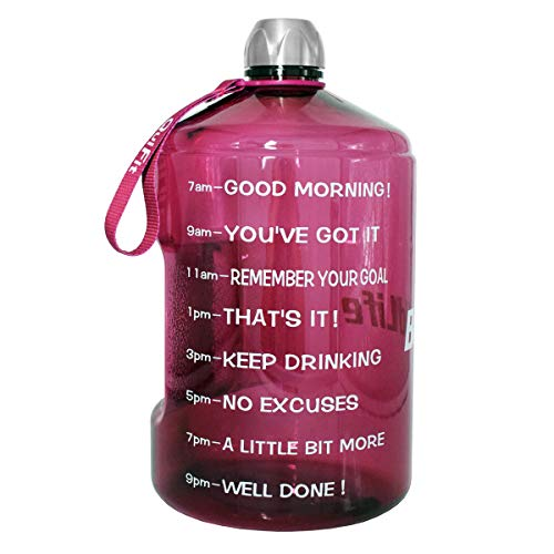 BuildLife 1 Gallon Water Bottle Motivational Fitness Workout with Time Marker/Drink More Daily/Clear BPA Free/Large 128OZ Capacity (Bright Purple, 1 Gallon)