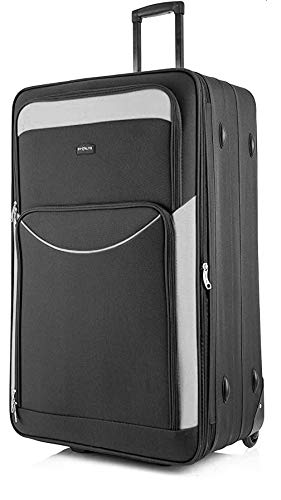 DK Luggage Starlite Lightweight Large Expandable Suitcases with 2 Wheels Black