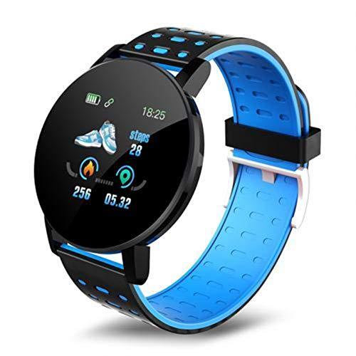 YONGLI Nuevo 119PLUS Smart Watch Smart Color Pantalla a Prueba De Agua Tasa del Corazón Monitor De Sueño Podómetro Pulsera Inteligente para Xiaomi iOS (Color : Blue)
