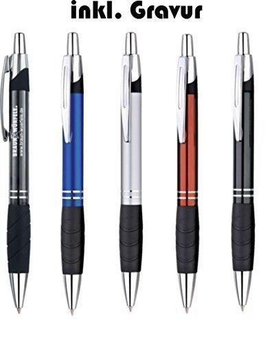 Exklusiver Kugelschreiber aus Aluminium mit blau schreibender Großraummine, Gummigrip, im Geschenketui, inkl. Gravur (schwarz)