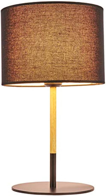 HANHJ LED Schreibtischlampe Knopf Stoff Augenschutz Tischleuchte Schlafzimmer Nachttischlampe Korridor-Studie,schwarz-ThreeFarbeLEDLightSource