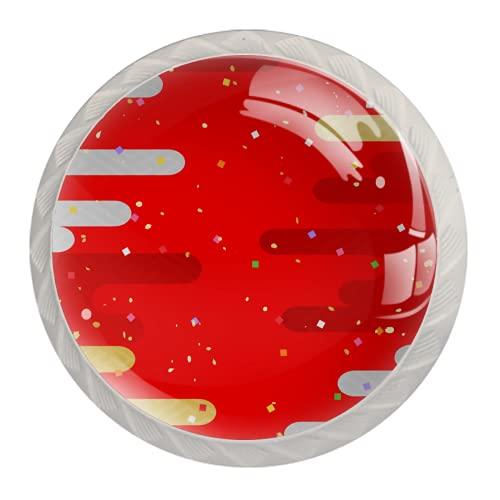 LXYDD Manijas para cajones Perillas para gabinetes Perillas Redondas Paquete de 4 para Armario, cajón, cómoda, cómoda, etc. Nube de Plata de Oro Rojo