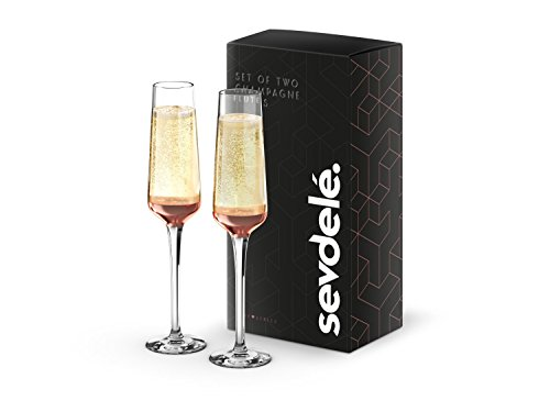Premium Champagne Glasses Set - sevdele Love Series Toasting Flutes Wedding Set - Stylish Champagne Glass Set for Engagements - Affordable, Durable Champagne Flutes, Hand Blown - Rose Gold Set of 2