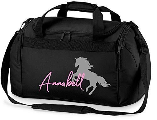 Reittasche mit Namensdruck personalisiert | Motiv aufsteigendes Pferd mit Name | Trage- und Sporttasche für Mädchen zum Reiten in vielen Farben verfügbar (schwarz)