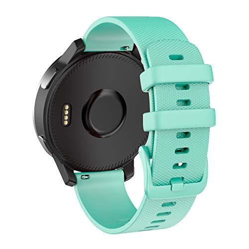 No Branded Correa de Reloj de Liberación Rápida, Reemplazo de Silicona Suave de 18mm de Ancho, Pulsera para vivomove 3S/Garmin Move 3S/vivoactive 11S/ Garmin Active, Impermeable-Verde Azulado
