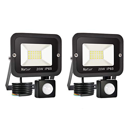 2 Piezas 20W Foco LED Exterior con Sensor Movimiento, bapro Proyector LED Exterior 2000LM Floodlight Impermeable IP65 Blanco Cálido 3000K, Alto Brillo Iluminacion Exterior para Jardín, Garaje, Fábrica