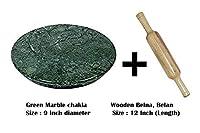 Roti Maker麺棒ボードchakla belan Chapati Flatbread   緑の大理石のロティローラー/チャクラベラン/ローリングピンボード/ロティメーカー/プルカメーカー/チャパティメーカー家庭用およびキッチン用チャクラ。(グリーン(チャクラ+木製めん棒)、9インチ)