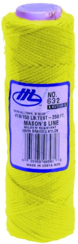 Marshalltown M632 - Hilo de replanteo (86,86 m), color amarillo fluorescente