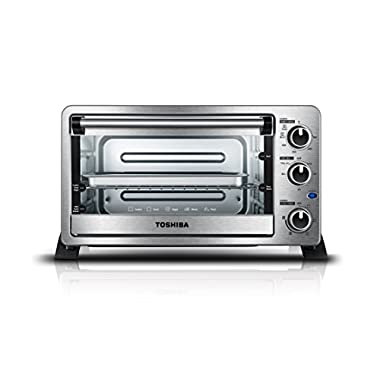 Toshiba MC25CEY-SS Mechanical Oven with Convection/Toast/Bake/Broil Function, 25 L capacity/6 Slices Bread/12-inch Pizza, Stainless Steel