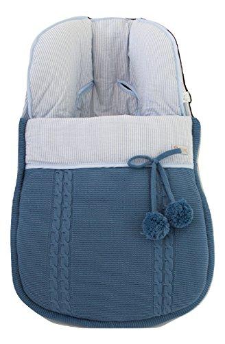 Saco para Capazo/Convertible Matrix Jané - Color Azul Francia - Lana Extra Suave - Saco Carrito Bebé - Handmade - Se Adapta a tu Silla - Saco de Silla para Paseo - Hecho en España - Nenel