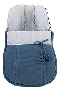 Saco funda universal grupo 0 maxicosi en punto de lana y algodón de rayas. Modelo sophie. Azul/azul