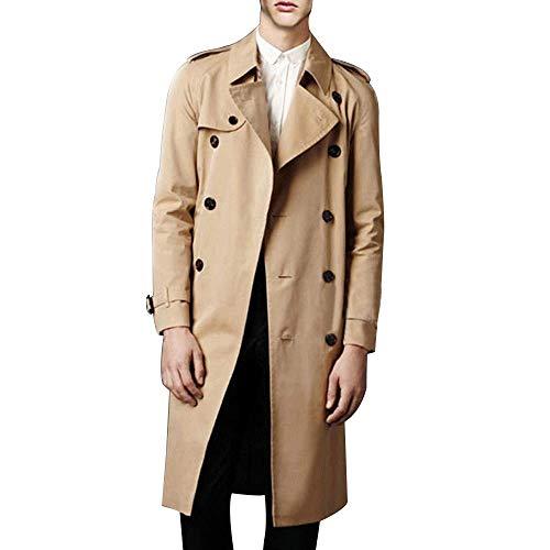 Men's Double Breasted Trench Coat Casual Lapel Long Sleeve Windbreaker Jacket