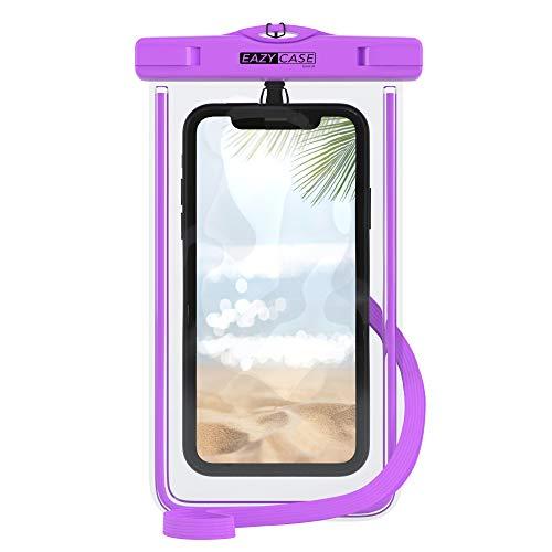 EAZY CASE wasserdichte Handytasche für Alle Smartphones bis 6 Zoll, schützt vor Staub, Sand, Schnee, Dreck, Wasser I Schutzhülle mit Umhängeband, IPX8 Zertifiziert, Transparent/Lila