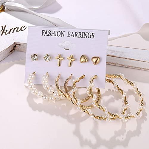FEARRIN Pendientes de Moda, Pendientes Bohemios inusuales, Conjunto para Mujer, Pendiente geométrico de Perlas acrílicas de Moda, joyería Femenina H70-ZL2425-1