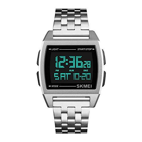 Relojes Digital Rectángulo Multifunción Relojes Hombre Cronómetro LED Relojes Acero Inoxidable Deportivo, Plata