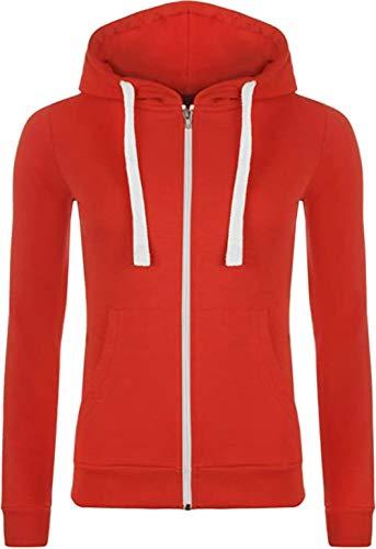 N?A - Sudadera con capucha y cremallera para mujer, manga larga, forro polar rojo XL