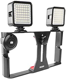 Rizer Smartphone Video Rig Handheld Grip Stabilizer with 2 Dimmable 49 LED Lights and Bluetooth Clicker Remote