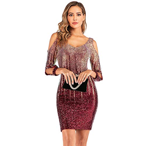 Best Price Witspace Women Sexy o-Neck Sexy Long Sleeve Sequin Ruffle Dress