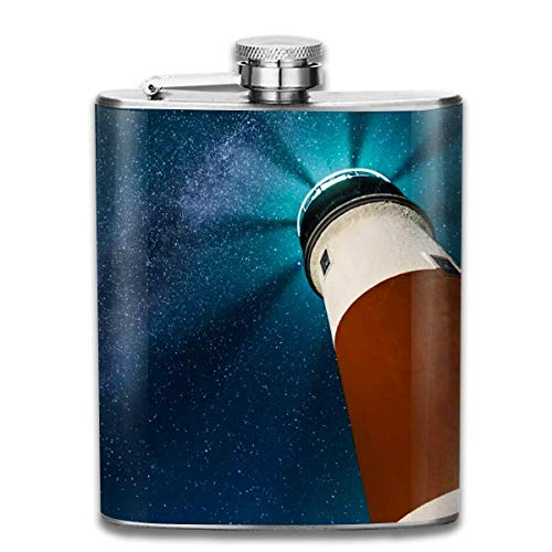 Star and Lighthouse Fashion Portable Stainless Steel Hip Flask Whiskey Bottle for Men and Women 7 Oz