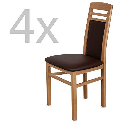 Staboos 4er Set Esszimmerstühle Leder CH44 - Stuhlset bestehend aus 4 Stühlen - Polsterstuhl bis 150 kg - Holzstuhl gepolstert (Natur - Braun)