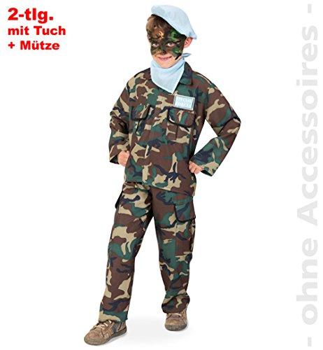 Rambo Dschungel Kämpfer Militär Soldat 2tlg m Halstuch u Mütze Kinder Kostüm Gr 140