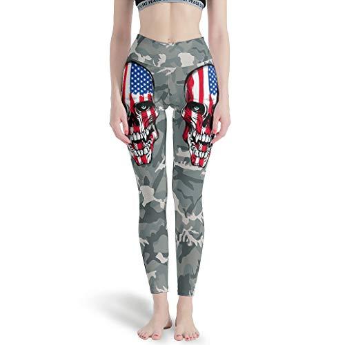 HXshqian Womens 4 Way Stretch Yoga Legging Amerikaanse Vlag Schedel Premium Gedrukte Legging Broek Niet Doorkijken Stof