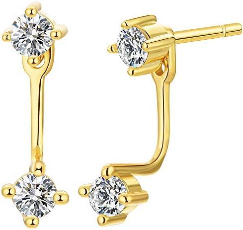 Double CZ Ear Jacket Front Back Earrings 18k Gold Vermeil product image