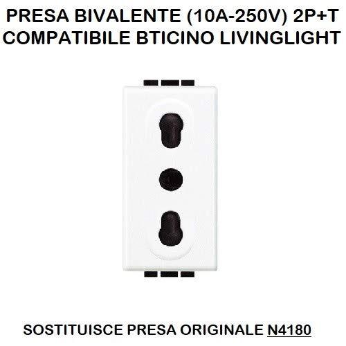 PRESA BIVALENTE (10A-250V) 2P+T COMPATIBILE BTICINO LIVINGLIGHT BIANCA N4180